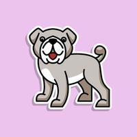 söt djur hund klistermärke design vektor