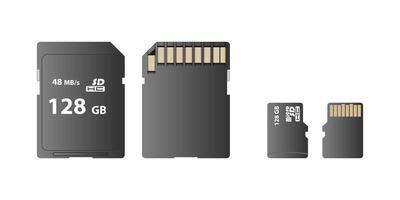 minneskort, SD-kort och micro SD-kortuppsättning vektor