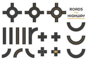 Straßen und Autobahn verschiedene Kreuzung Satz von Stücken gesetzt vektor