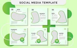 moderner grüner Social-Media-Schablonen-Modestil. Premium-Vektor
