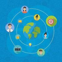 Social Network Media Flat Design vektor