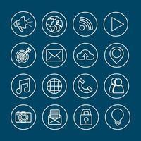 sociala nätverk media ikonuppsättning vektor