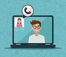 Mann und Frau auf Laptop in einem Videoanruf vektor