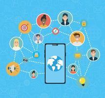 sociala nätverk media platt design med smartphone vektor