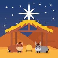 Offenbarung von Jesus mit Tieren in einer Krippe vektor
