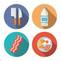 Küche und Restaurant lange Schatten Icon Set vektor