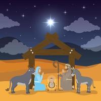 Jesu uppenbarelse, helig familj i en krubba vektor