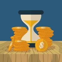 Sanduhr und Münzen, Finanzkonzept flaches Design vektor