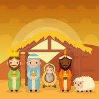 Offenbarung von Jesus mit Magiern, die Geschenke bringen