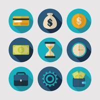 pengar och ekonomi Ikonuppsättning