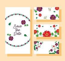 spara datumet blommig bröllopskortuppsättning vektor