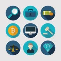 Ikonuppsättning för ekonomi, teknik och företag vektor