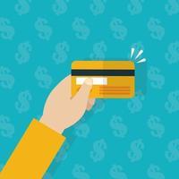 hand som håller ett kreditkort, ekonomikoncept platt design vektor