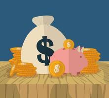 Geldsack und Sparschwein mit Münzen vektor