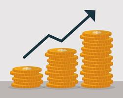 pengar mynt tillväxt med pil, finans koncept platt design vektor