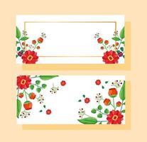spara datum blommig bröllop banner uppsättning vektor