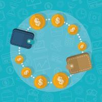 Brieftaschen verbunden, Finanzkonzept flaches Design vektor