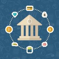 Kryptowährung und Dollarfinanzikonenentwurf vektor
