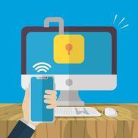 teknik internetsäkerhet platt design vektor
