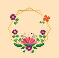 spara datumet blommigt bröllopskort vektor