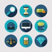 ekonomi, teknik och affärssymbolsuppsättning vektor