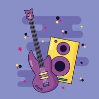 Lautsprecher und Gitarrenmusik bunten Hintergrund