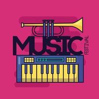 söt musikdesign med popikoner vektor