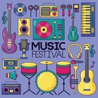 niedliches Musikfestivaldesign mit Popikonen vektor