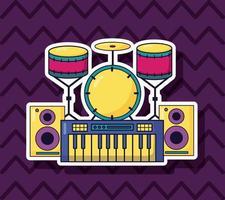 Synth, Schlagzeug und Lautsprecher für Musik farbenfrohen Hintergrund vektor