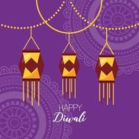 glückliches diwali Festivalplakat flaches Design vektor