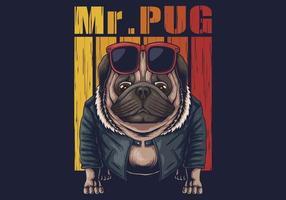 Mops Hund coole Vektor-Illustration