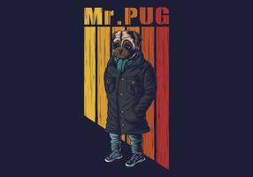 mops hund mode vektorillustration