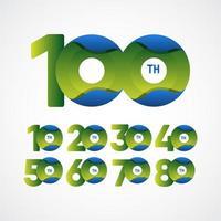 100-jährige Jubiläumsfeier grün-blaue Farbverlaufsvektorschablonenentwurfsillustration