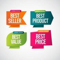 Bestseller, bestes Produkt, bester Wert, bester Preis Textetikett Vektor Vorlage Design Illustration