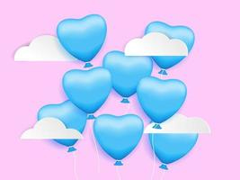 Herzformballon im Himmel, Valentinstaghintergrund