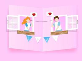 Paar verliebt in Telefon mit Dosen und Schnur