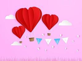 kärlek i luften, röd hjärta form ballong flyger i himlen vektor