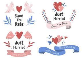 Valentinstag Label Vektor Logo Set