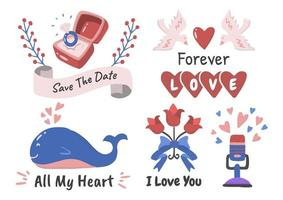 Alla hjärtans etikett vektor logotyp set