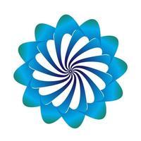 Blumensymbolvektorentwurf in den blauen Farben