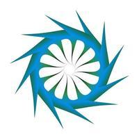 Kreissymboldesign mit spitzen Seiten. abstrakte Kreise in scharfer blauer Farbe