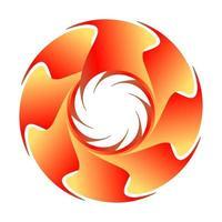 abstraktes fraktales Kreislogo in der orange Farbe wie Sonne