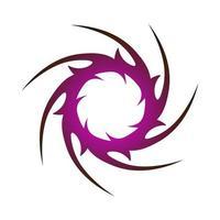 einzigartiges kreatives Symbol des scharfen Kreises, eingewickelt in dunkelviolette Farbe