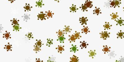 hellgrüne, gelbe Vektorbeschaffenheit mit Krankheitssymbolen.