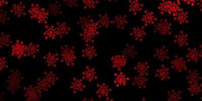 dunkelgrünes, rotes Vektormuster mit Coronavirus-Elementen.