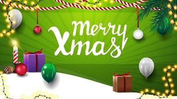Frohe Weihnachten, grüne Postkarte für die Homepage Ihrer Website mit Weihnachtsgeschenken, Girlanden und Luftballons