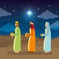 Offenbarung von Jesus mit Magiern, die Geschenke bringen vektor