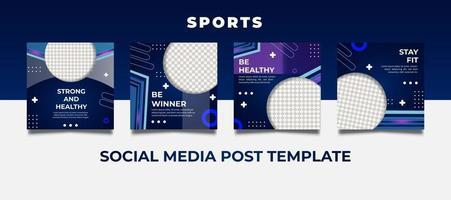 futuristische Sportvorlagen für Social-Media-Beiträge.