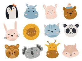 uppsättning söta klistermärken med djurhuvud och ansikte vektor