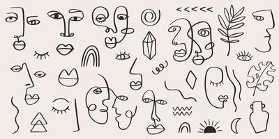 abstraktes Stammesfrauenporträt gesetzt in der durchgehenden Strichgrafik. Mode zeitgenössische Elemente mit ethnischen weiblichen Gesichtern, Blättern, Blumen, Formen im modernen Tuschemalestil. minimalistisches ästhetisches Konzept